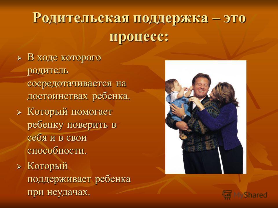 Родительская поддержка – это процесс: В ходе которого родитель сосредотачивается на достоинствах ребенка. В ходе которого родитель сосредотачивается на достоинствах ребенка. Который помогает ребенку поверить в себя и в свои способности. Который помог