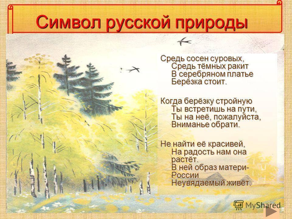 Символ русской природы Средь сосен суровых, Средь тёмных ракит В серебряном платье Берёзка стоит. Когда берёзку стройную Ты встретишь на пути, Ты на неё, пожалуйста, Вниманье обрати. Не найти её красивей, На радость нам она растёт. В ней образ матери