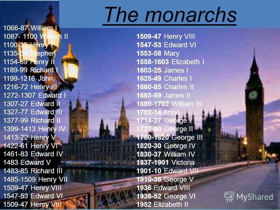 The monarchs 1509-47 Henry VIII 1547-53 Edward VI 1553-58 Mary 1558-1603 Elizabeth I 1603-25 James I 1625-49 Charles I 1660-85 Charles II 1685-89 James II 1689-1702 William III 1702-14 Anne 1714-27 George I 1727-60 George II 1760-1820 George III 1820