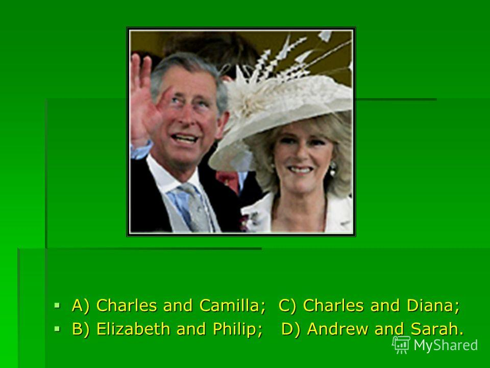 A) Charles and Camilla; C) Charles and Diana; A) Charles and Camilla; C) Charles and Diana; B) Elizabeth and Philip; D) Andrew and Sarah. B) Elizabeth and Philip; D) Andrew and Sarah.