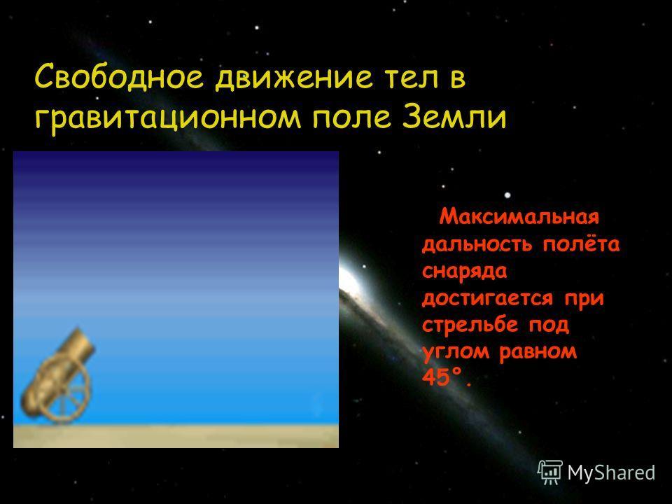 Свободное движение тел в гравитационном поле Земли Максимальная дальность полёта снаряда достигается при стрельбе под углом равном 45°.