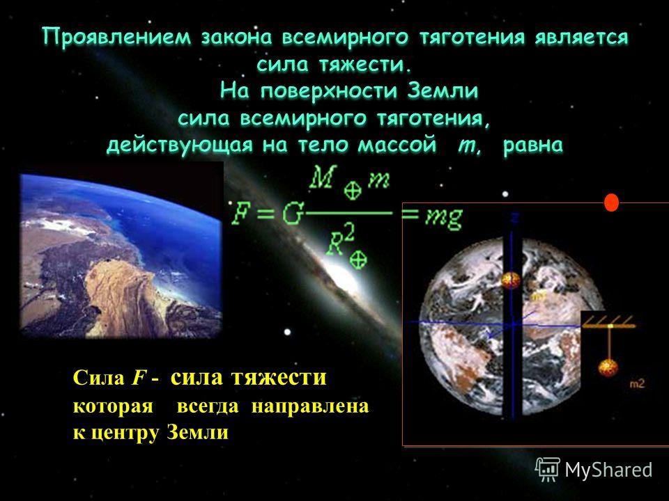 Сила F - сила тяжести которая всегда направлена к центру Земли