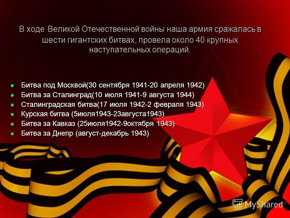 В ходе Великой Отечественной войны наша армия сражалась в шести гигантских битвах, провела около 40 крупных наступательных операций. Битва под Москвой(30 сентября 1941-20 апреля 1942) Битва под Москвой(30 сентября 1941-20 апреля 1942) Битва за Сталин