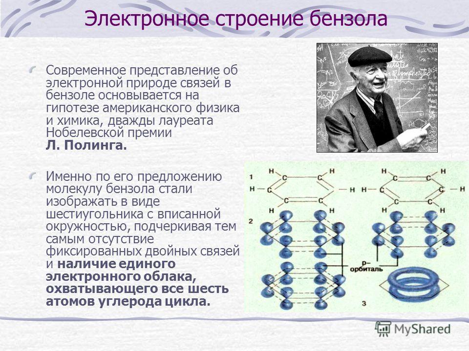 Электронное строение бензола Современное представление об электронной природе связей в бензоле основывается на гипотезе американского физика и химика, дважды лауреата Нобелевской премии Л. Полинга. Именно по его предложению молекулу бензола стали изо