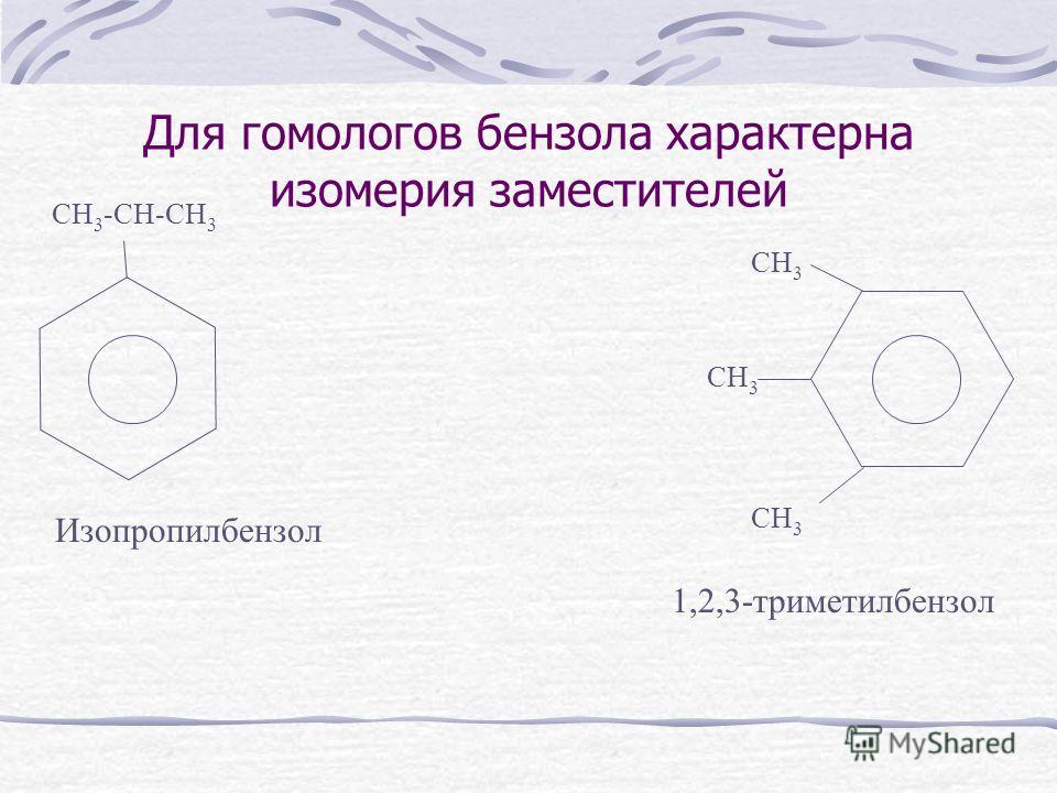 Для гомологов бензола характерна изомерия заместителей CH 3 -CH-CH 3 Изопропилбензол CH 3 1,2,3-триметилбензол