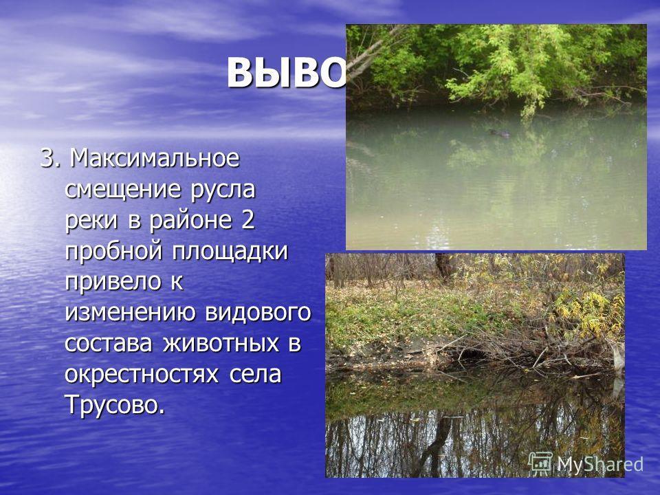 ВЫВОДЫ: 3. Максимальное смещение русла реки в районе 2 пробной площадки привело к изменению видового состава животных в окрестностях села Трусово.