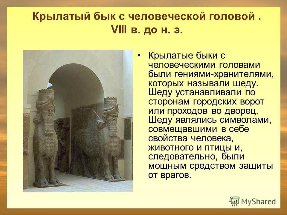 Крылатый бык с человеческой головой. VIII в. до н. э. Крылатые быки с человеческими головами были гениями-хранителями, которых называли шеду. Шеду устанавливали по сторонам городских ворот или проходов во дворец. Шеду являлись символами, совмещавшими