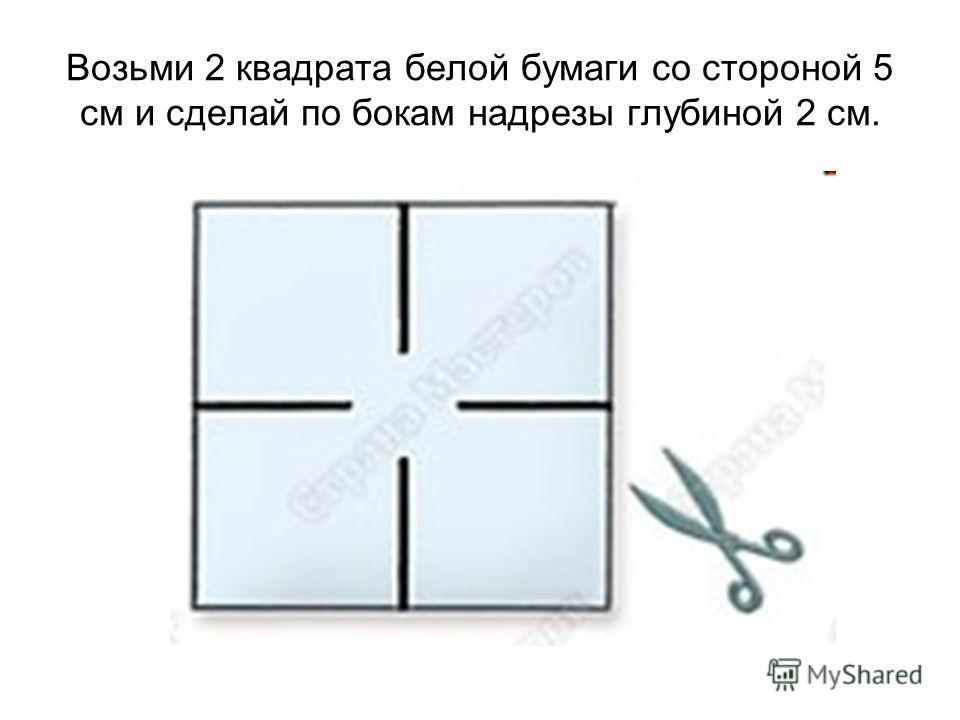 Возьми 2 квадрата белой бумаги со стороной 5 см и сделай по бокам надрезы глубиной 2 см.