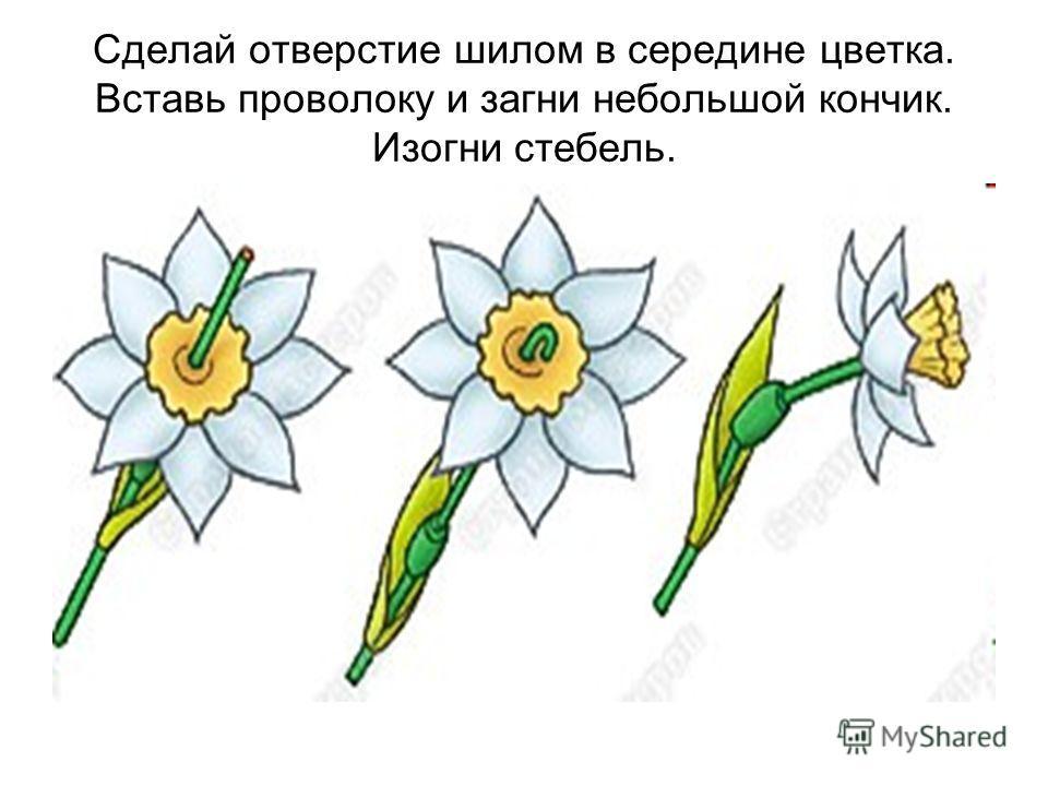 Сделай отверстие шилом в середине цветка. Вставь проволоку и загни небольшой кончик. Изогни стебель.