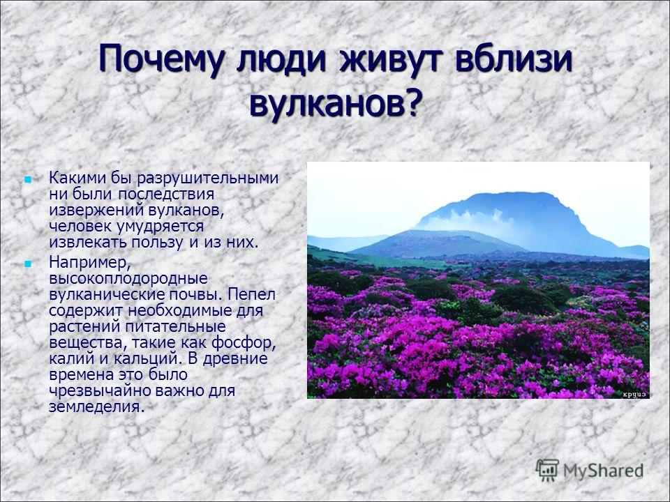 Почему люди живут вблизи вулканов? Какими бы разрушительными ни были последствия извержений вулканов, человек умудряется извлекать пользу и из них. Например, высокоплодородные вулканические почвы. Пепел содержит необходимые для растений питательные в