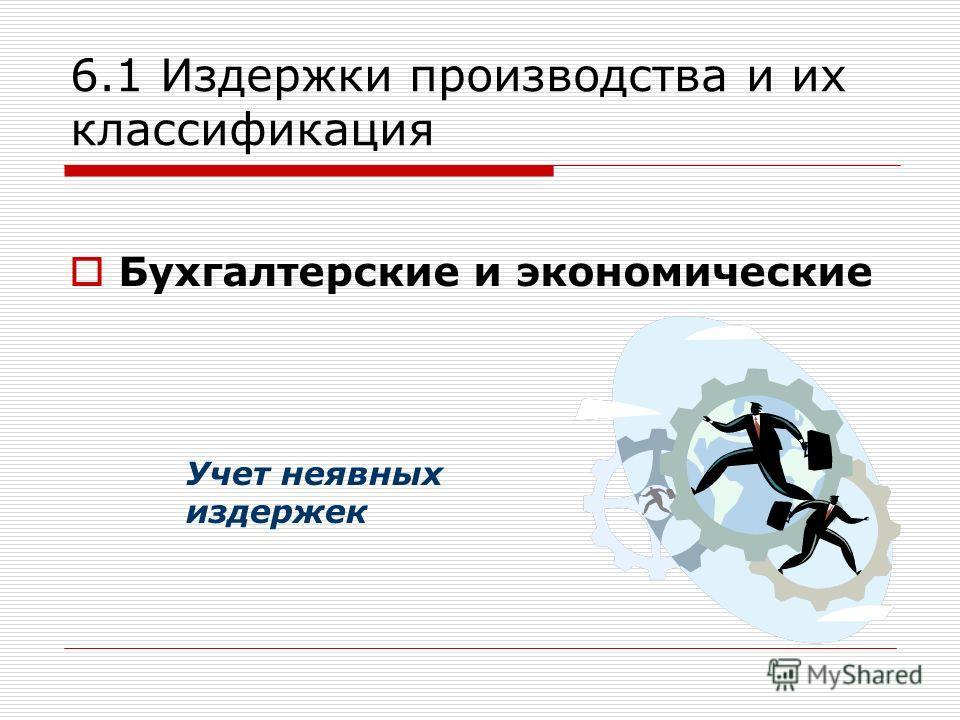 6.1 Издержки производства и их классификация Бухгалтерские и экономические Учет неявных издержек