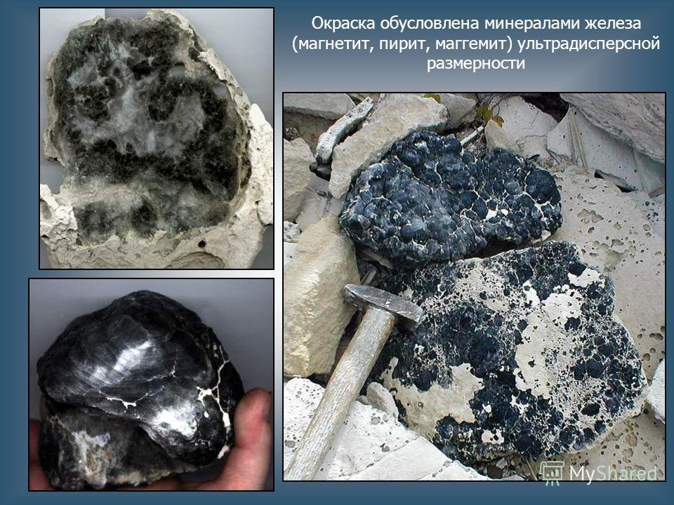 Окраска обусловлена минералами железа (магнетит, пирит, маггемит) ультрадисперсной размерности