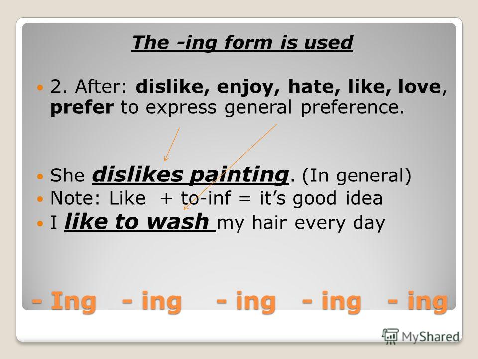 The –ing form is used 1. After certain verbs (admit, anticipate, appreciate, avoid, consider, continue, delay, deny, discuss, enjoy, escape, excuse, fancy, finish, forgive, go(physical activities), imagine, involve, keep,(=continue), mention, mind, m