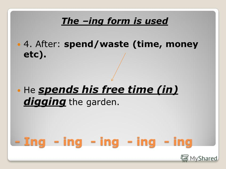 - Ing - ing - ing -ing - ing The –ing form is used 3. After: Im busy, Its no use, Its (no) good, Its (not) worth, whats the use of, cant help, there is no point (in), cant stand, have difficulty (in), in addition to, as well as, have trouble, have a