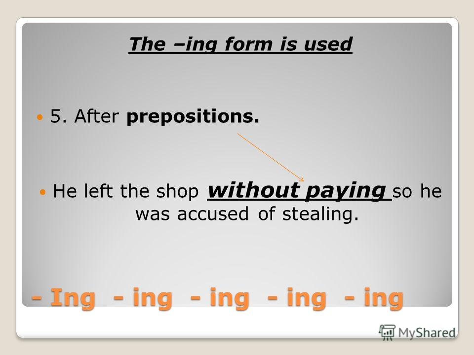 - Ing - ing - ing - ing - ing The –ing form is used 4. After: spend/waste (time, money etc). He spends his free time (in) digging the garden.