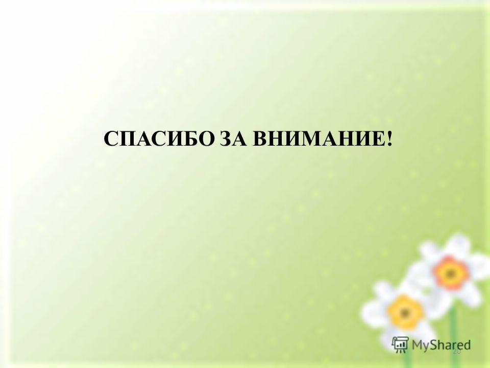 СПАСИБО ЗА ВНИМАНИЕ! 20