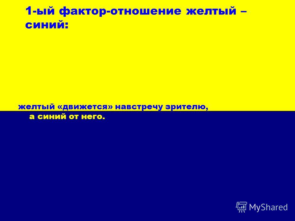 1-ый фактор-отношение желтый – синий: желтый «движется» навстречу зрителю, а синий от него.