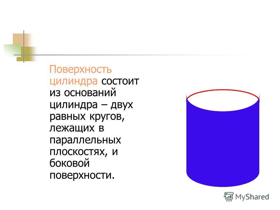 Цилиндр Цилиндром называется тело, которое состоит из двух кругов, не лежащих в одной плоскости и совмещаемых параллельным переносом, и всех отрезков, соединяющих соответствующие точки этих кругов А 1 В А В 1