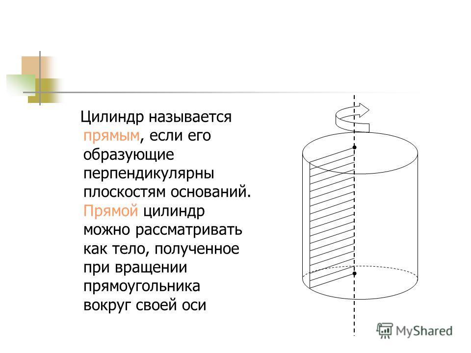 Поверхность цилиндра состоит из оснований цилиндра – двух равных кругов, лежащих в параллельных плоскостях, и боковой поверхности.
