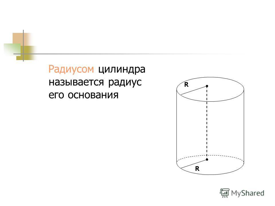 Цилиндр называется прямым, если его образующие перпендикулярны плоскостям оснований. Прямой цилиндр можно рассматривать как тело, полученное при вращении прямоугольника вокруг своей оси
