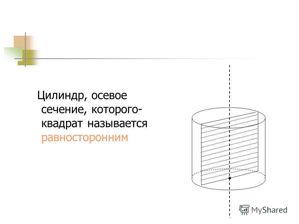 Сечение цилиндра плоскостью, проходящей через ось цилиндра, называется осевым сечением