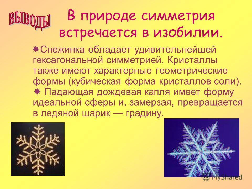В природе симметрия встречается в изобилии. Снежинка обладает удивительнейшей гексагональной симметрией. Кристаллы также имеют характерные геометрические формы (кубическая форма кристаллов соли). Падающая дождевая капля имеет форму идеальной сферы и,