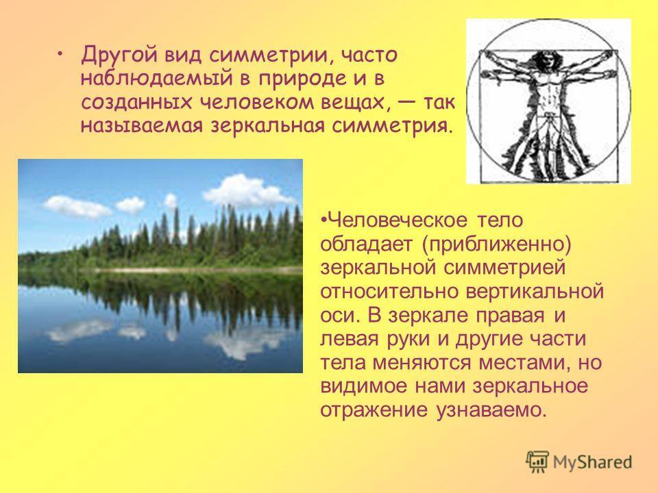 Другой вид симметрии, часто наблюдаемый в природе и в созданных человеком вещах, так называемая зеркальная симметрия. Человеческое тело обладает (приближенно) зеркальной симметрией относительно вертикальной оси. В зеркале правая и левая руки и другие