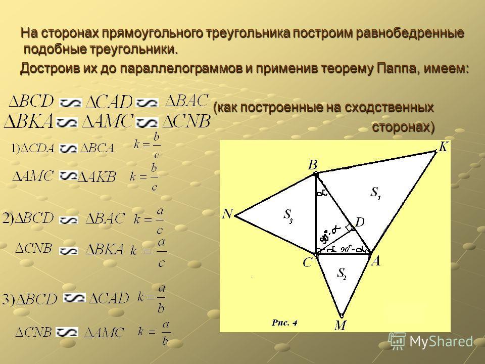 На сторонах прямоугольного треугольника построим равнобедренные подобные треугольники. На сторонах прямоугольного треугольника построим равнобедренные подобные треугольники. Достроив их до параллелограммов и применив теорему Паппа, имеем: Достроив их