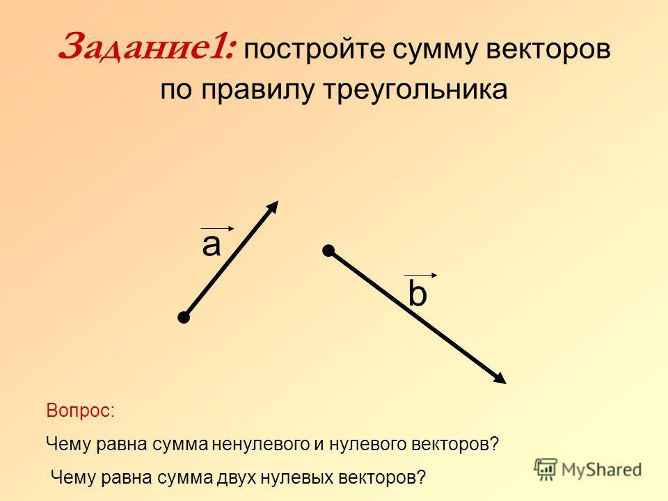 Задание1: постройте сумму векторов по правилу треугольника b а Вопрос: Чему равна сумма ненулевого и нулевого векторов? Чему равна сумма двух нулевых векторов?