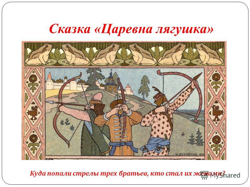 Сказка «Царевна лягушка» Куда попали стрелы трех братьев, кто стал их женами?