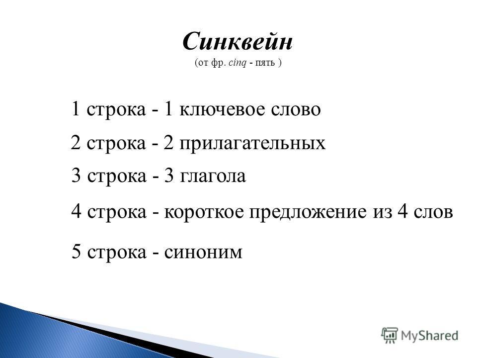 Синквейн (от фр. cinq - пять ) 1 строка - 1 ключевое слово 2 строка - 2 прилагательных 3 строка - 3 глагола 4 строка - короткое предложение из 4 слов 5 строка - синоним