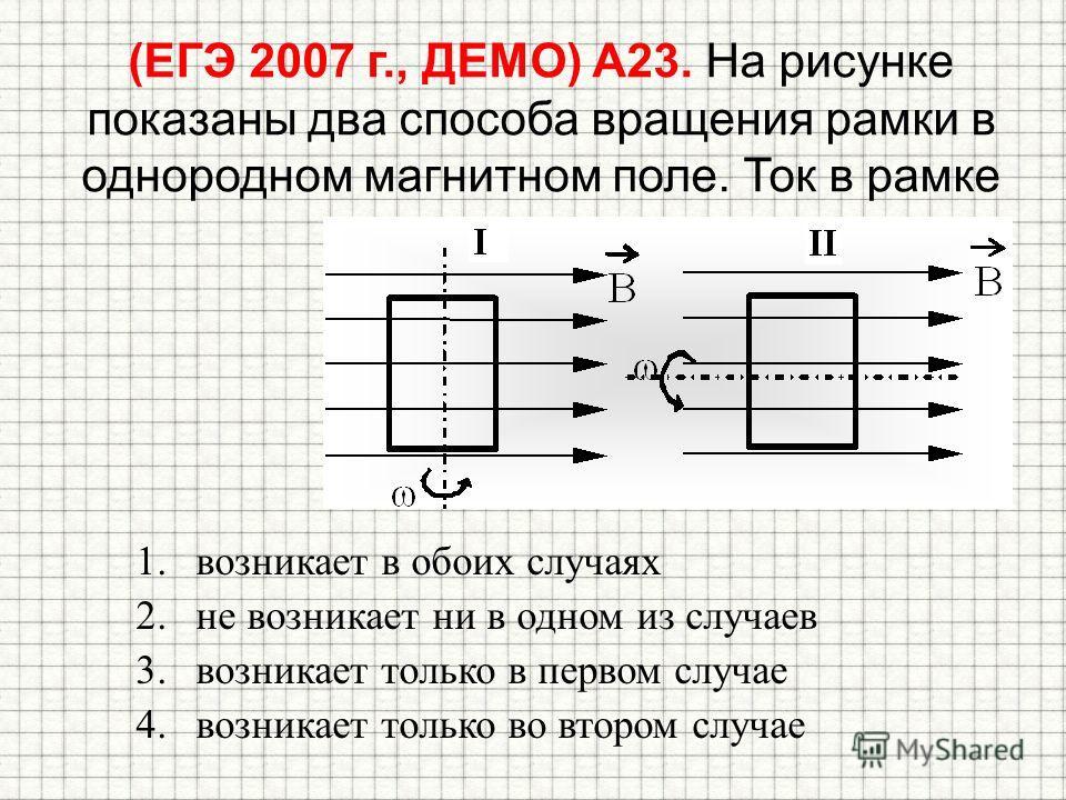 (ЕГЭ 2007 г., ДЕМО) А23. На рисунке показаны два способа вращения рамки в однородном магнитном поле. Ток в рамке 1.возникает в обоих случаях 2.не возникает ни в одном из случаев 3.возникает только в первом случае 4.возникает только во втором случае