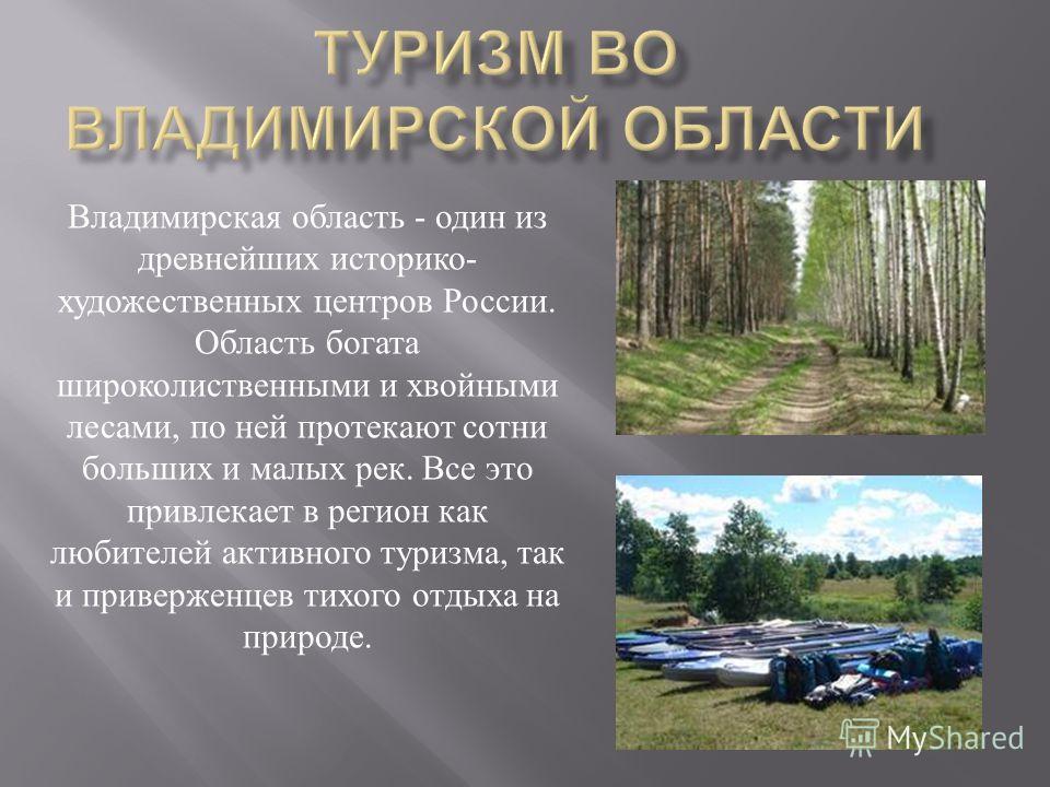 Владимирская область - один из древнейших историко - художественных центров России. Область богата широколиственными и хвойными лесами, по ней протекают сотни больших и малых рек. Все это привлекает в регион как любителей активного туризма, так и при