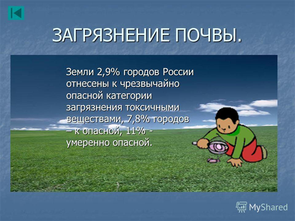 ЗАГРЯЗНЕНИЕ ПОЧВЫ. Земли 2,9% городов России отнесены к чрезвычайно опасной категории загрязнения токсичными веществами, 7,8% городов – к опасной, 11% - умеренно опасной.