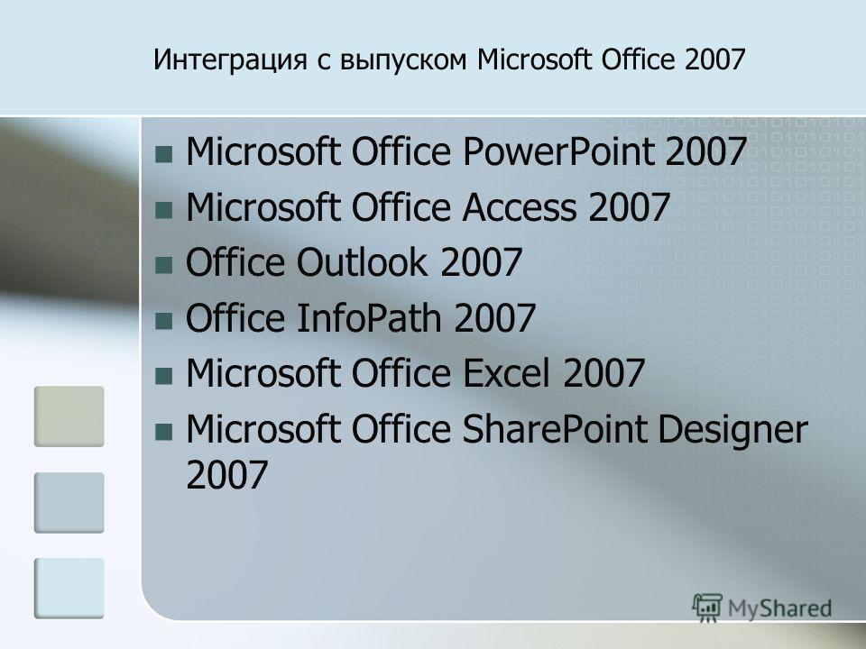 Интеграция с выпуском Microsoft Office 2007 Microsoft Office PowerPoint 2007 Microsoft Office Access 2007 Office Outlook 2007 Office InfoPath 2007 Microsoft Office Excel 2007 Microsoft Office SharePoint Designer 2007