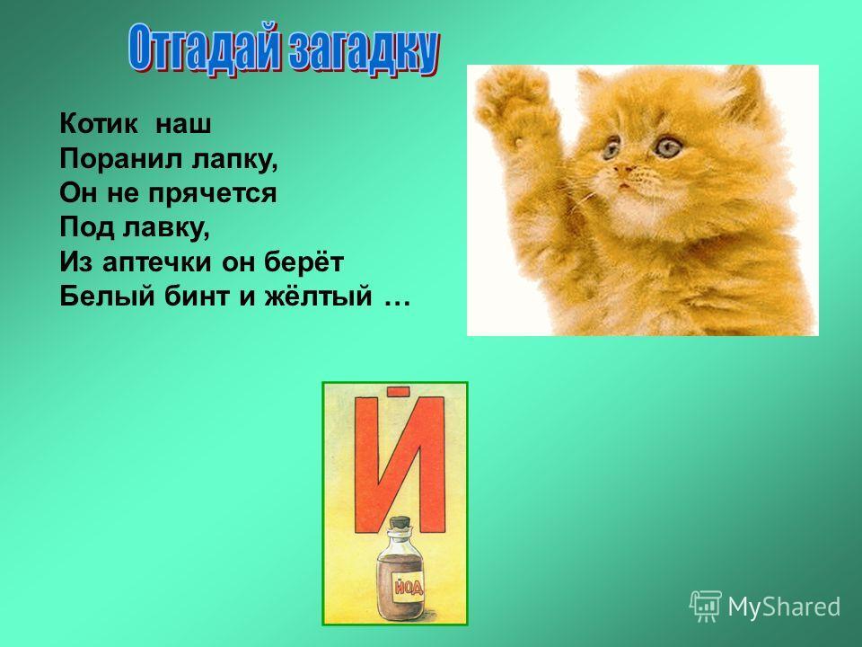 Котик наш Поранил лапку, Он не прячется Под лавку, Из аптечки он берёт Белый бинт и жёлтый …