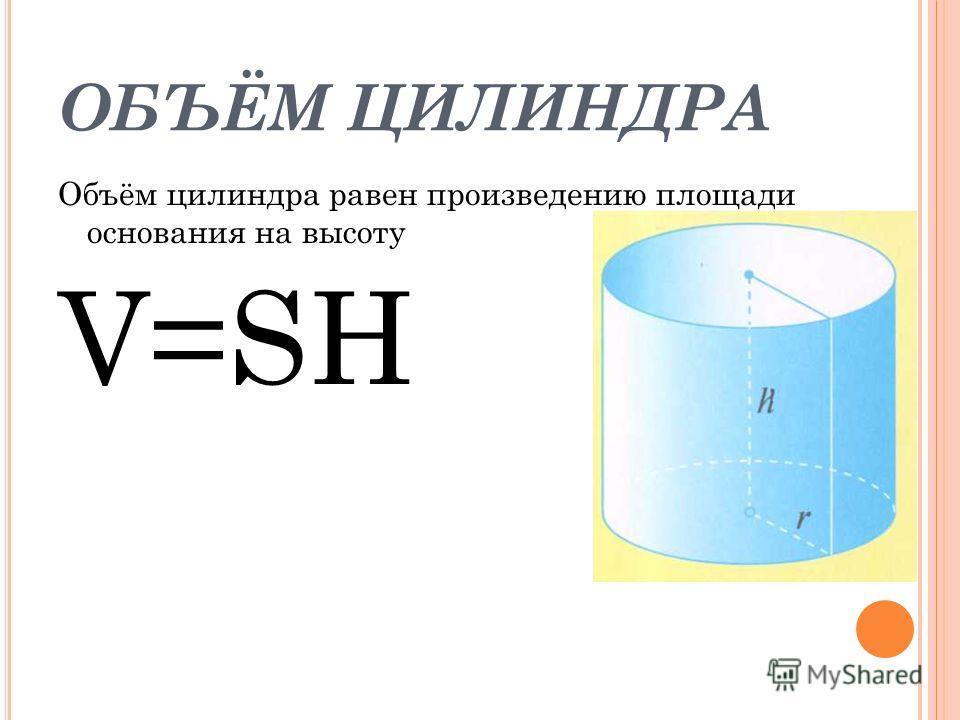 ОБЪЁМ ЦИЛИНДРА Объём цилиндра равен произведению площади основания на высоту V=SH