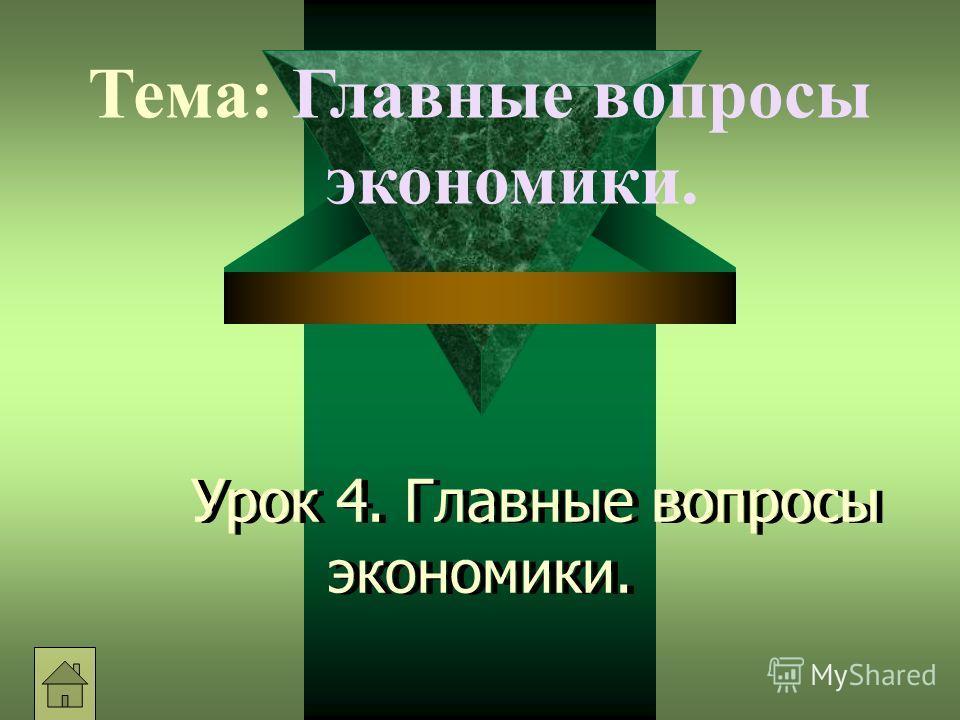 Урок 4. Главные вопросы экономики. Тема: Главные вопросы экономики.