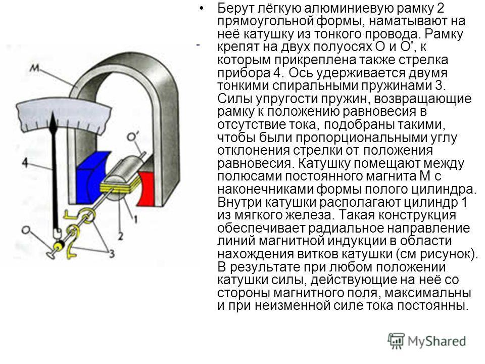 Берут лёгкую алюминиевую рамку 2 прямоугольной формы, наматывают на неё катушку из тонкого провода. Рамку крепят на двух полуосях О и О', к которым прикреплена также стрелка прибора 4. Ось удерживается двумя тонкими спиральными пружинами 3. Силы упру