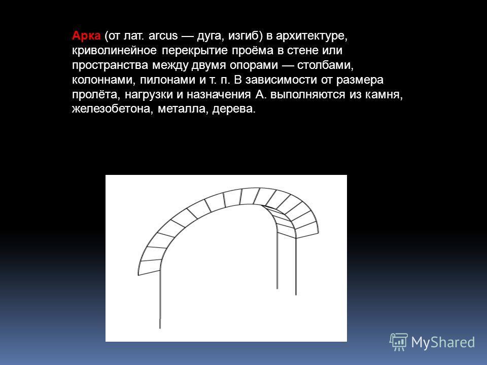 Арка (от лат. arcus дуга, изгиб) в архитектуре, криволинейное перекрытие проёма в стене или пространства между двумя опорами столбами, колоннами, пилонами и т. п. В зависимости от размера пролёта, нагрузки и назначения А. выполняются из камня, железо