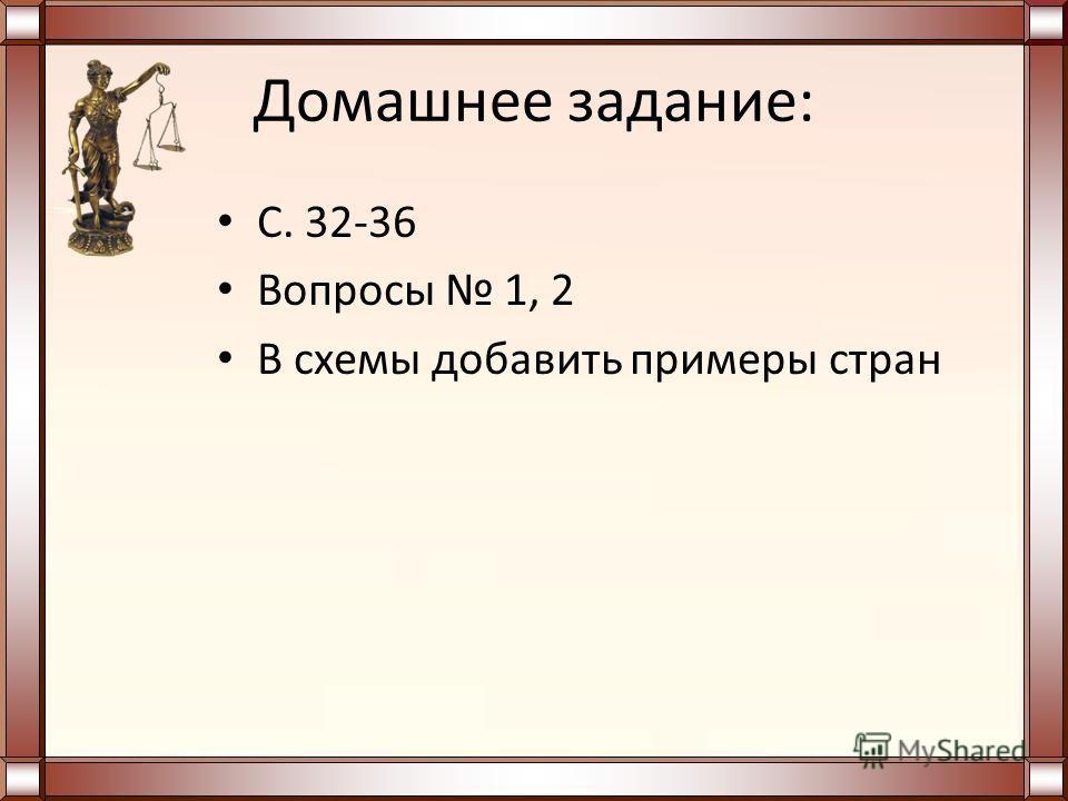 Домашнее задание: С. 32-36 Вопросы 1, 2 В схемы добавить примеры стран