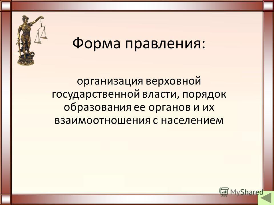 Форма правления: организация верховной государственной власти, порядок образования ее органов и их взаимоотношения с населением
