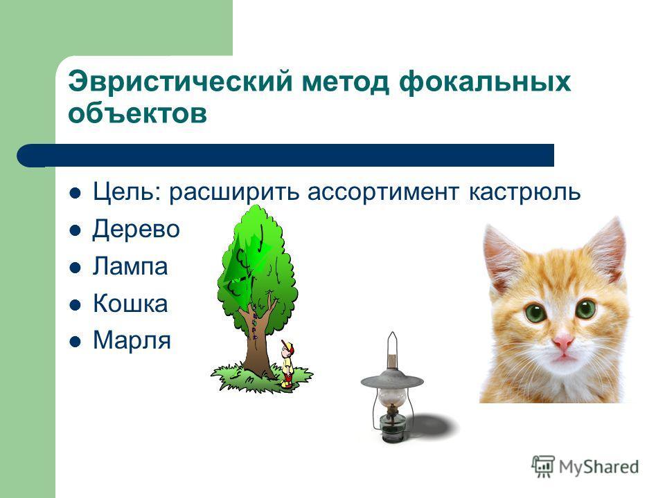 Эвристический метод фокальных объектов Цель: расширить ассортимент кастрюль Дерево Лампа Кошка Марля