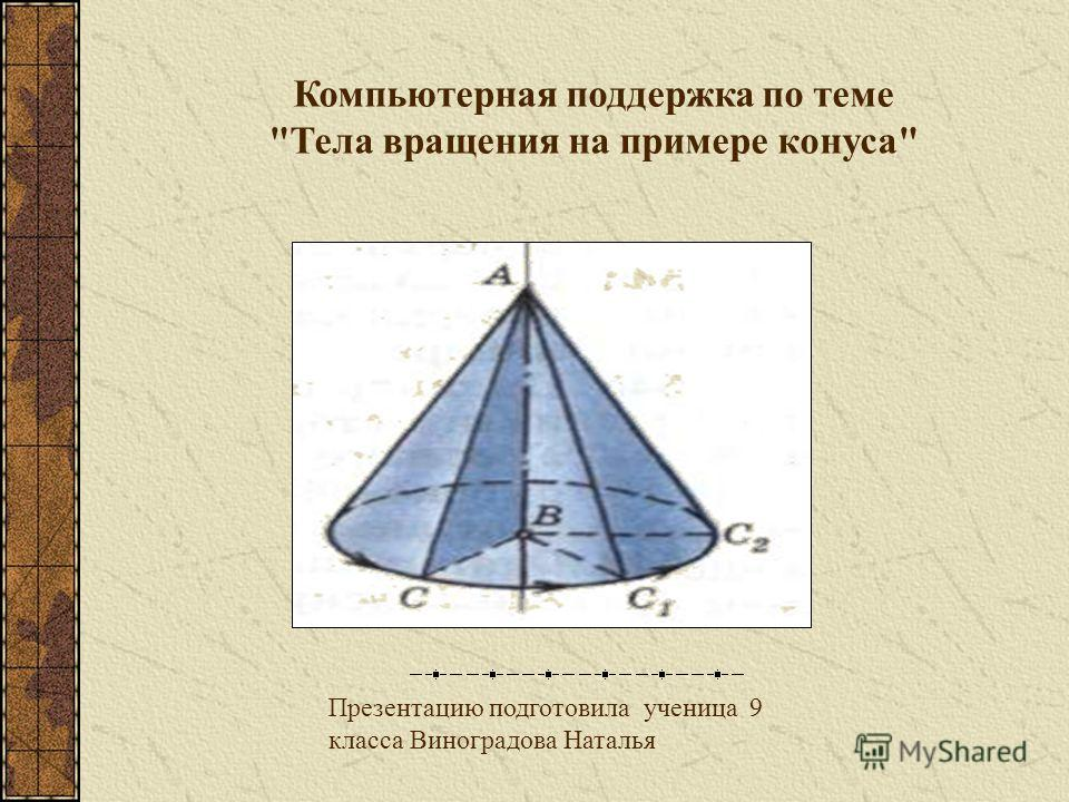 Презентацию подготовила ученица 9 класса Виноградова Наталья Компьютерная поддержка по теме Тела вращения на примере конуса