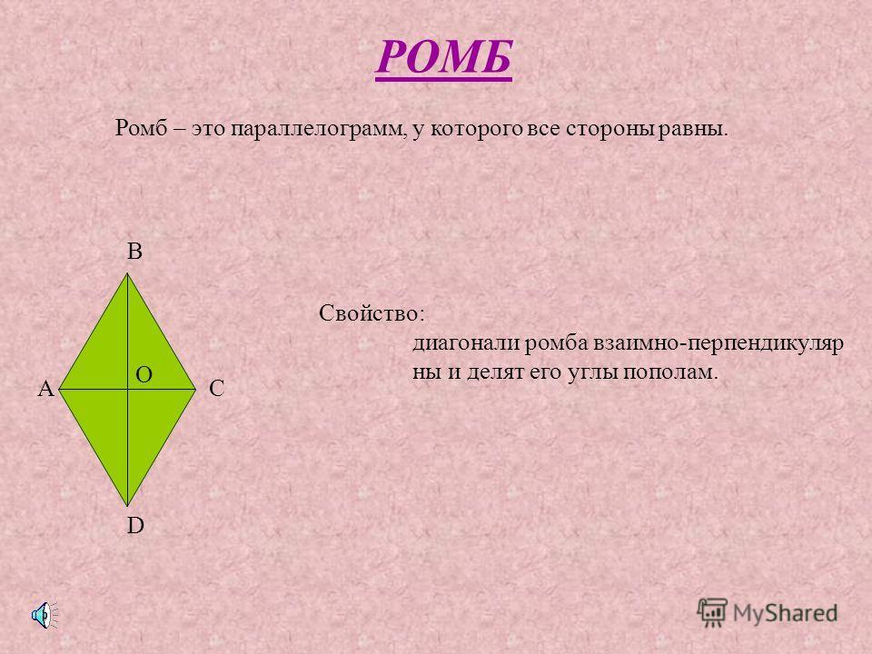 ПРЯМОУГОЛЬНИК А В С D Прямоугольник- это параллелограмм, у которого все углы прямые Свойство: диагонали прямоугольника равны (AC=BD). Признак: если в параллелограмме диагонали равны, то этот параллелограмм – прямоугольник.