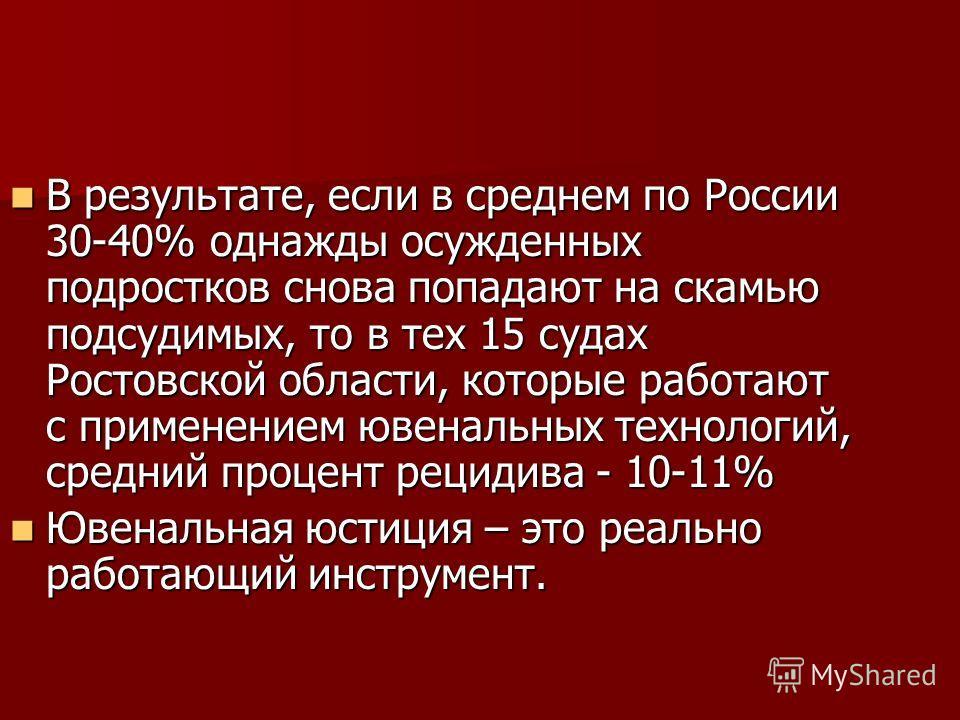 В результате, если в среднем по России 30-40% однажды осужденных подростков снова попадают на скамью подсудимых, то в тех 15 судах Ростовской области, которые работают с применением ювенальных технологий, средний процент рецидива - 10-11% В результат