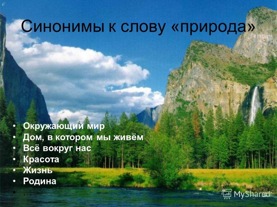 Синонимы к слову «природа» Окружающий мир Дом, в котором мы живём Всё вокруг нас Красота Жизнь Родина …