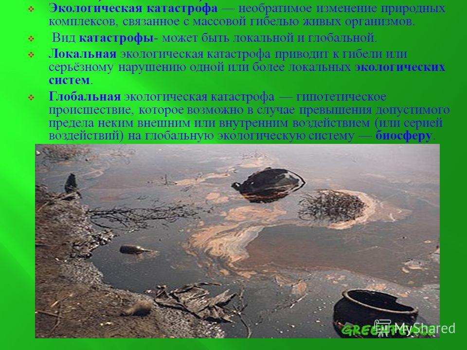 Экологическая катастрофа необратимое изменение природных комплексов, связанное с массовой гибелью живых организмов. Вид катастрофы - может быть локальной и глобальной. Локальная экологическая катастрофа приводит к гибели или серьёзному нарушению одно