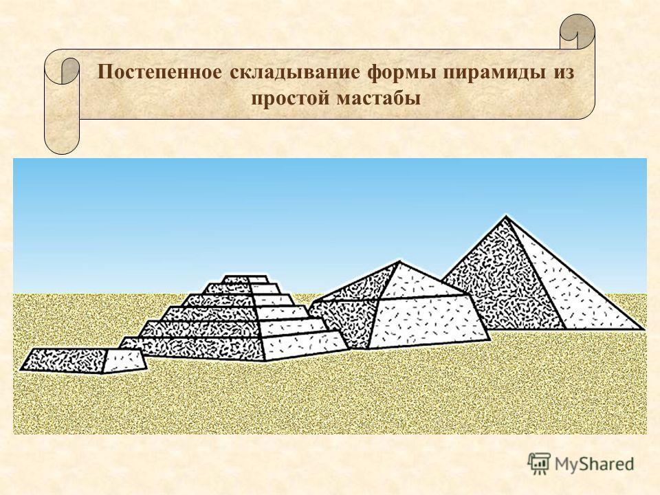 Постепенное складывание формы пирамиды из простой мастабы