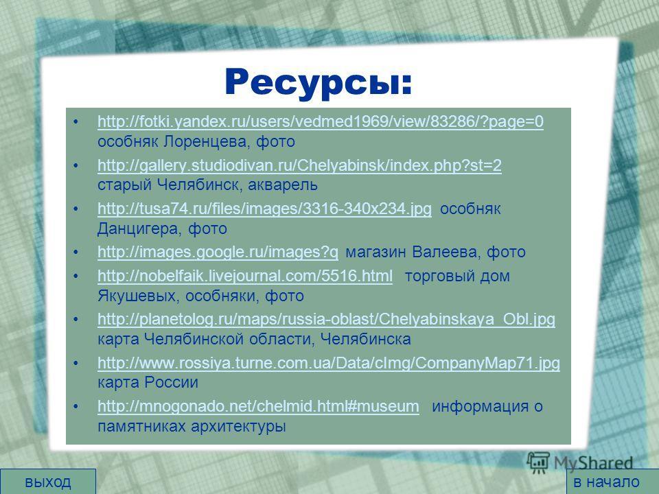 Ресурсы: http://fotki.yandex.ru/users/vedmed1969/view/83286/?page=0 особняк Лоренцева, фотоhttp://fotki.yandex.ru/users/vedmed1969/view/83286/?page=0 http://gallery.studiodivan.ru/Chelyabinsk/index.php?st=2 старый Челябинск, акварельhttp://gallery.st